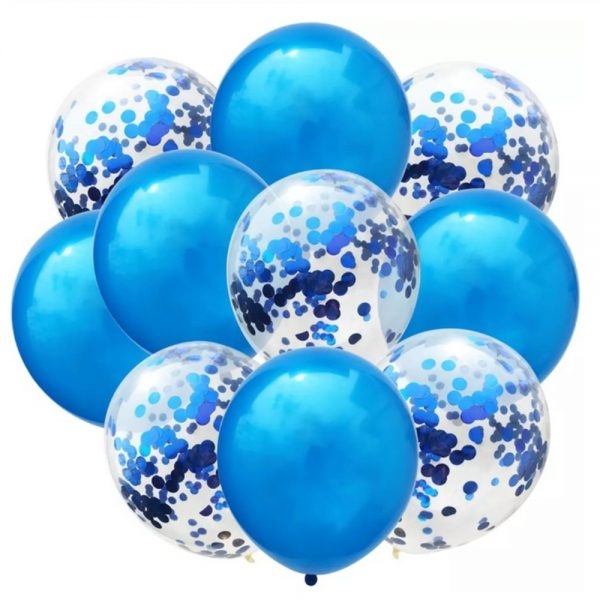 Blauwe en glitter ballonnen