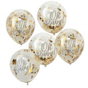 oh baby gouden confetti ballonnen