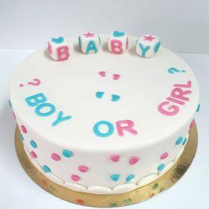 gender reveal taart van marsepein