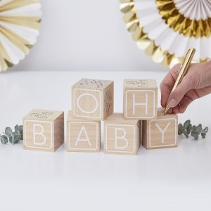 oh baby blokken gastenboek gender reveal party