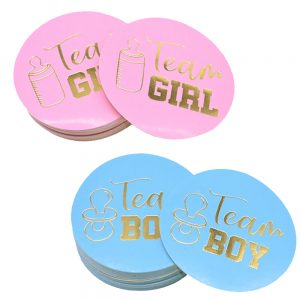 team boy team girl stickers gender reveal party